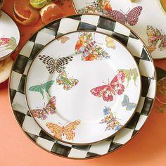 Butterfly Garden Salad/Dessert Plate -White