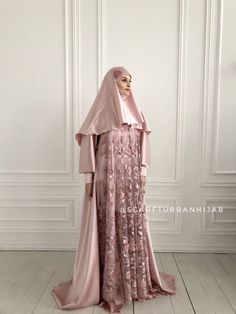 Blush pink silk satin maxi dress with long sleeves, Muslim dress , nikkah wedding outfit, elegant hijab
