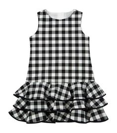 View The Check Ruffle Dress - Diy Crafts Kids Dress Wear, Kids Gown, Kids Wear, Girls Frock Design, Baby Dress Design, Baby Girl Frocks, Frocks For Girls, Baby Frocks Designs, Kids Frocks Design