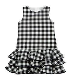 View The Check Ruffle Dress - Diy Crafts Girls Dresses Sewing, Kids Outfits Girls, Little Girl Dresses, Toddler Girl Dresses, Kids Dress Wear, Kids Gown, Kids Wear, Girls Frock Design, Baby Dress Design
