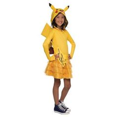 Pokemon: Girls Pikachu Hoodie Dress - Large, Yellow