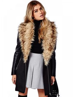 Black PU Sleeve Faux Fur Coat