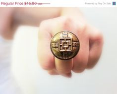SALE 40% OFF Asian Vintage Button Ring Golden Round by JustColor