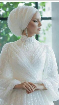to to to Hijab Evening Dress Modell Muslimah Wedding Dress, Muslim Wedding Dresses, Muslim Brides, Wedding Gowns, Lace Wedding, Dress Muslimah, Wedding Hijab Styles, Muslim Couples, Summer Wedding