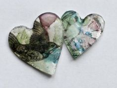 Hearts of Shrinky Dinks, UTEE, alcohol inks and printed images