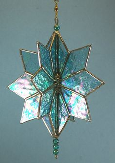 Stained Glass Teal Blue 3D Twirling Star Suncatcher by glassnwood, $35.00