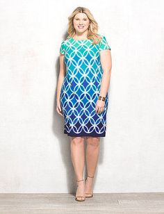 Make a cool-toned statement this spring with this eye-catching geometric ombre dress. In a soft knit fabric, this dress allows you to effortlessly pull off comfort and style. Allover blue, navy, turquoise and white geometric ombre print. db Signature™ exclusively for dressbarn. Imported.