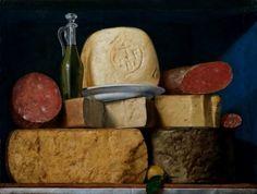 Anonimo Lombardo (secolo XIX) Ampolla d'olio di oliva, formaggi e salami Olio su tavola, Collezione privata ((Fa parte di una serie di insegne di negozi di pizzicheria o drogheria, che erano in uso nel secolo scorso, specialmente in Francia e nell'Italia settentrionale)