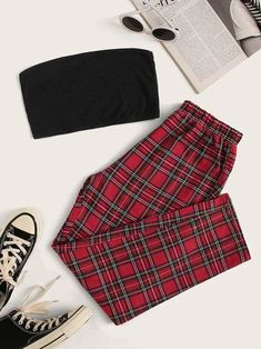 Shop Rib-knit Crop Tube Top & Tartan Pants Set at ROMWE, discover more fashion styles online. Girls Fashion Clothes, Teen Fashion Outfits, Mode Outfits, Retro Outfits, Outfits For Teens, Grunge Outfits, Preteen Fashion, Teenage Girl Outfits, Style Clothes