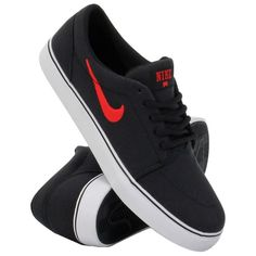 Nike Sepatu Lari Satire Canvas - Black/Red - Lazada.co.id
