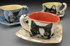 Cat teacups, by Hannah Niswonger July 09