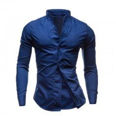 Camisa Social Livre Masculina Manga Longa Gola Mandarim Elegante 6025a4a1d7798