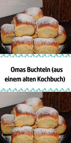 Omas Buchteln (aus einem alten Kochbuch) Our grandma always knew how to satisfy our bellies. She was very good at baking and cooking, she did both with love. I learned everything from my grandmother a Toast Pizza, Easy Cupcake Recipes, Dessert Recipes, Easy Banana Bread, Banana Nut, Cake Mix Cookies, Food Cakes, The Best, Easy Meals