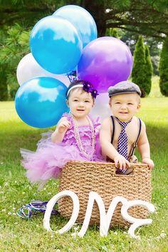 Twins first birthday #twins #baloons #oneyear #birthday #firstbirthday #bgtwins #basket #tutu #tie