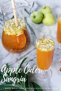 Apple Cider Sangria is the best Fall Cocktail. Apple Cider, Apple Whiskey, and Wine flavored with cinnamon sticks is a delicious way to celebrate fall flavors. Perfect drink recipe for fall! Caramel Apple Sangria, Apple Cider Sangria, Apple Recipes, Fall Recipes, Apple Cider Whiskey, Apple Cider Alcohol, Thanksgiving Sangria, Thanksgiving Recipes, Sangria Ingredients