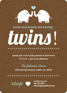 Two Elephants Twins Baby Shower Invitation by PurpleTrail.com