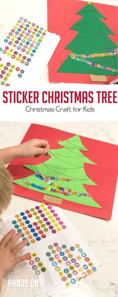 Follow the line with stickers to make this adorable Christmas tree craft for kids. via @handsonaswegrow