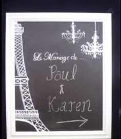 Like this idea, except instead of the Eiffel Tower, a drawn tree. French Wedding Decor, Parisian Wedding, Bali Wedding, Our Wedding, Dream Wedding, Paris Party, Paris Theme, Wedding Themes, Wedding Decorations