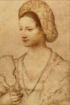 bernardino luini - study for a portrait of a woman 16th century