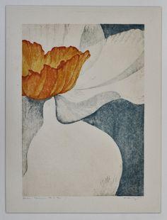 narcissus reduction woodblock print