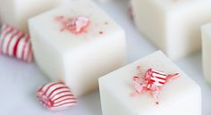 Candy Cane Martini Jelly Shots (10 each small peppermint candies  3 tbsp peppermint schnapps  2 tbsp white chocolate liqueur  3/4 cup vanilla vodka 2 envelopes plain gelatin 1/3 cup sweetened condensed milk 2/3 cup water)
