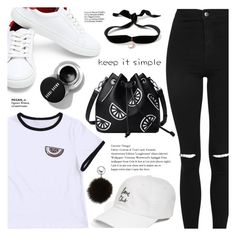 """""""B&W"""" by soygabbie ❤ liked on Polyvore featuring Topshop, The Style Club, Aamaya by Priyanka, Adrienne Landau and Haute Hippie"""
