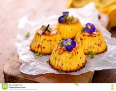 Photo about Homemade mini spicy cheese cake with edible flowers. Image of background, gourmet, homemade - 71055449 Edible Flowers Cake, Pastry Design, French Pastries, Canapes, Food Plating, Spicy, Food And Drink, Healthy Recipes, Fruit