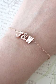 Personalized Rose Gold Letter Bracelet - Rose Gold Initial Rose Gold Filled Chain, monogram, friendship, ampersand couples initial bracelet, by ColorMeMissy, www.colormemissy.com