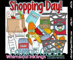 Shopping Day 2 Clip Art - Commercial Use, Digital Image, Png, Clipart - Instant Download - Groceries, Grocery Store, Shopping Cart, Food by ResellerClipArt on Etsy