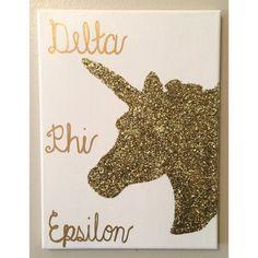 Delta Phi Epsilon Unicorn Canvas