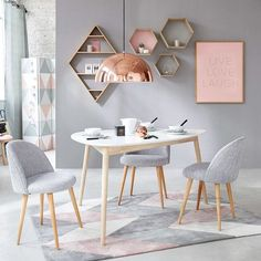 Table à manger scandinave blanche 4/5 personnes L150