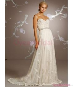 New Arrival Chic Sweep Train Sheath/Column Strapless Ivory Flower Inexpensive Lace Chiffon Wedding Dresses Sale  WD-4388