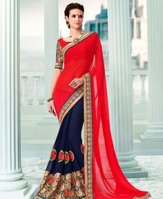 Buy Amazing Red & Blue Georgette Sarees online at  https://www.a1designerwear.com/amazing-red-blue-georgette-sarees  Price: $57.88 USD
