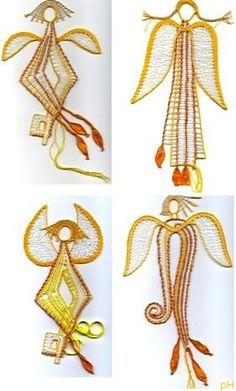 Andělé na pověšení - fotoalba uživatelů - Dáma.cz Bobbin Lace Patterns, Lace Heart, Lace Jewelry, Lace Making, Lace Detail, Tatting, Cross Stitch, Drop Earrings, Crochet