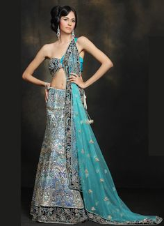 Exotic Blue Lehenga. The blouse is a little too open for my taste but it's really beautiful! I love love love the colors.