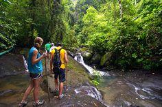 Las personas dar una caminata en Costa Rica. Pasear cerca las playas y la selva.