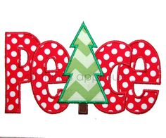 PEACE with Christmas Tree - Christmas Applique Designs - 3 Sizes - INSTANT DOWNLOAD on Etsy, $4.00