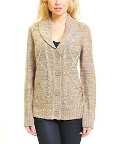 Take a look at this Raw Wheat Cable Knit Shawl Collar  Cardigan by VICE VERSA on #zulily today!