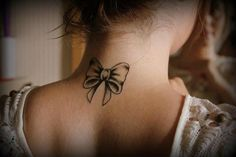 Biw on Neck / #tattoo #ink #bow #neck #back #illustration #little #girl