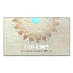 Elegant Gold Foil Ornate Leaf Lotus Look Exotic Business Card Templates