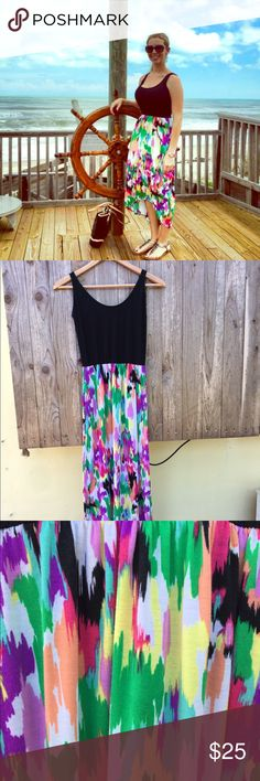FLASH SALE!!! Multi colored Hi Lo Dress Really cute hi lo dress. Has cribs cross detail in back. Since straps are not adjustable I have them knotted in the back. For reference I am 5 ft 4. Good condition minus a few loose threads. Derek Heart Dresses High Low