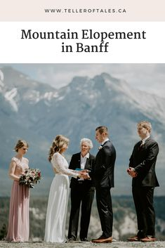 Beautiful Banff elopement at Tunnel Mountain Reservoir. To see more of this intimate wedding, visit Teller of Tales Photography. Mountain Elopement, Bridesmaid Dresses, Wedding Dresses, Banff, Flowers In Hair, Wedding Photos, Wedding Photography, Beautiful, Weddings