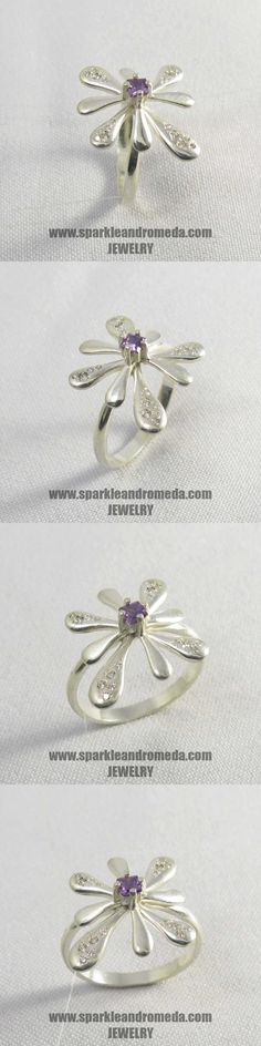 Sterling 925 silver ring with 1 square mm violet amethyst color and 8 round mm and 8 round 1 mm white color cubic zirconia gemstones. 925 Silver, Silver Rings, Amethyst Color, Brooch, Gemstones, Handmade, Jewelry, Month Gemstones, Hand Made