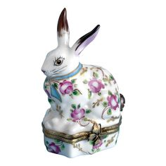 PETER COTTONTAIL~Rabbit Limoges Box with Rose Pattern Handpainted Porcelain | ScullyandScully.com