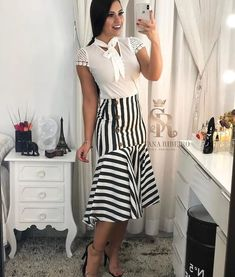 Image may contain: 1 person, standing and stripes White Fashion, Work Fashion, Fashion Outfits, Blouse And Skirt, Dress Skirt, Classy Outfits, Cool Outfits, Long Skirts For Women, Church Outfits