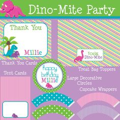 Dino-Mite Dinosaur MEGA Birthday Party Package - Girl DIY Printable.