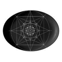 Third Dimensional Sacred Geometry Porcelain Serving Platter