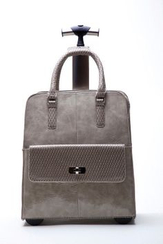CLASSIC GREY LEATHER LIKE ROLLING LAPTOP TOTE CARRYALL BAG