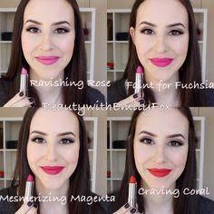 Maybelline Creamy Matte Lipsticks - Ravishing Rose, Faint For Fuchsia, Mesmerizing Magenta and Craving Coral