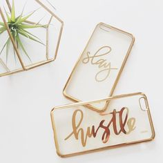 """Hustle hard during the week so you can Slay the weekend..did I use """"Slay"""" right? ✌️ Always love working with @milkywaycases on phone case designs. These new, shiny, gold cases got me like ! You can get these at @milkywaycases and they'll be coming to our shop soon, along with some other designs! Stay tuned!  Happy #friyay everyone and have a great weekend ❤️ . . . #letterstou #handdrawn #handlettering #calligraphy #iphonecase #milkywaycases #slay #hustle #golderrythang #etsy #et..."""